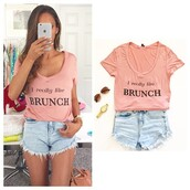 t-shirt,e's closet,i really like brunch,eleonore bridge,brunch,this is my brunch sweater