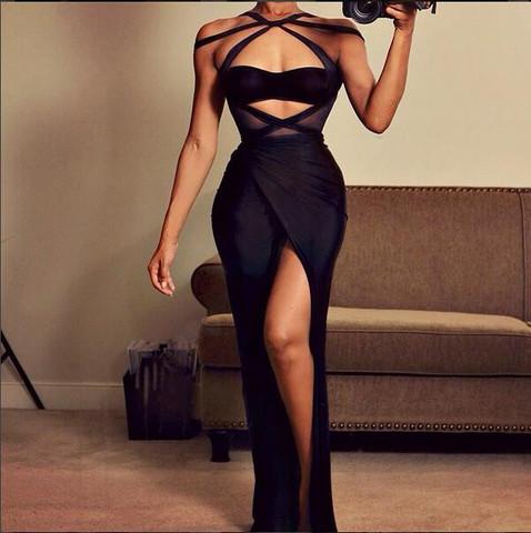 Black Halter Cut Out Maxi Bodycon Dress