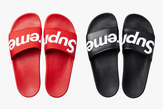 shoes supreme mens womens unisex flat slide shoes