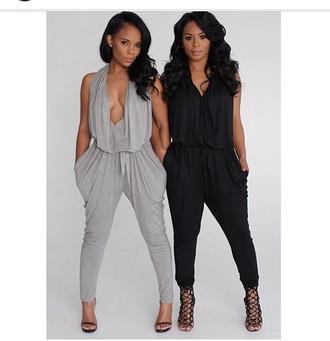 jumpsuit bodysuit grey gray one piece romper high heels heels outfit black shoes