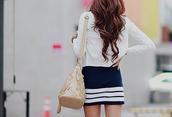 stripes,blue skirt,skirt