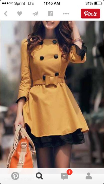 coat yellow trench coat