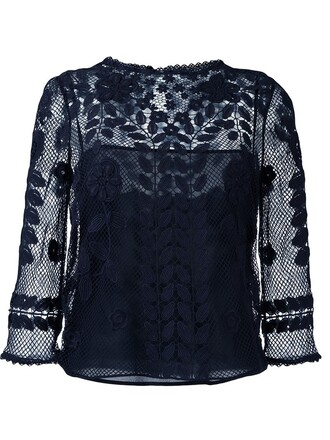 blouse embroidered mesh blue top