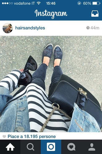 shoes jeans girl style ootd outfit black chanel chanel espadrilles