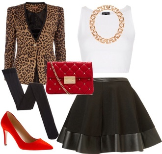 skirt necklace outfit top animal print