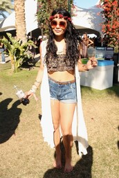 sweater,shirt,coachella,2012,flowers,glasses,crop tops,vanessa hudgens,shorts,hat,sunglasses,top,festival,cuffed shorts,jacket,rave,clothes,celebrity style,tank top,cardigan,style,fashion,hippie,grunge,hipster,celebrity,necklace,jewelry
