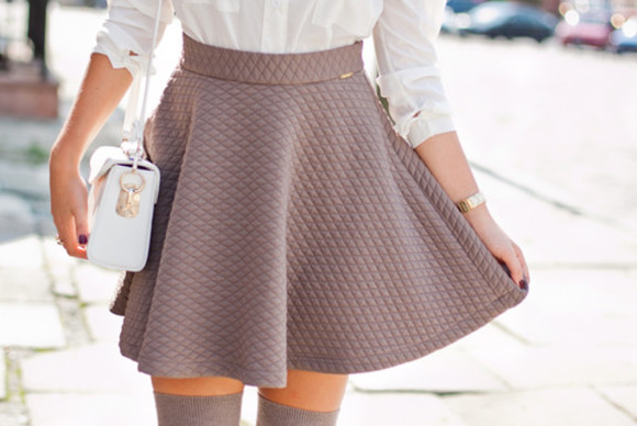 taupe style quilted skater skirt nude skirt mini skirt fashion skater