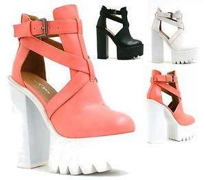 CHUNKY PLATFORM CLEATED SOLE T-BAR CUT OUT HIGH BLOCK HEEL SHOES BOOTS