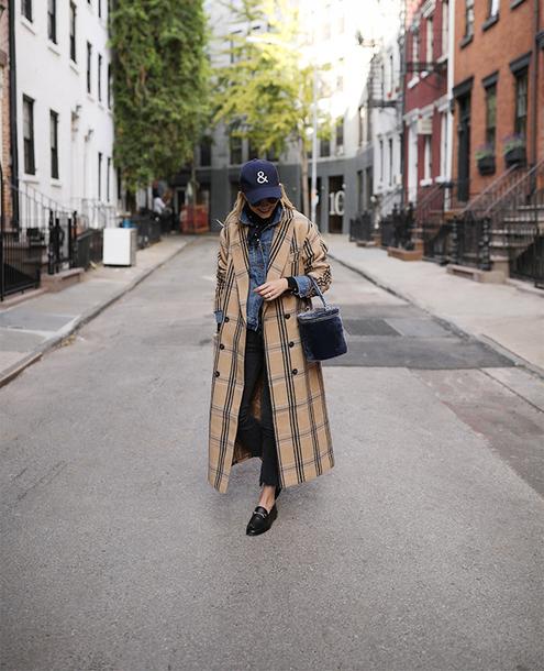 coat tumblr plaid coat plaid long coat camel long coat camel camel coat cap baseball cap shoes loafers