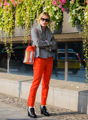pants,stockholm fashion week,streetstyle,red pants,shoes,high heels,heels,jacket,plaid,bag,fall outfits