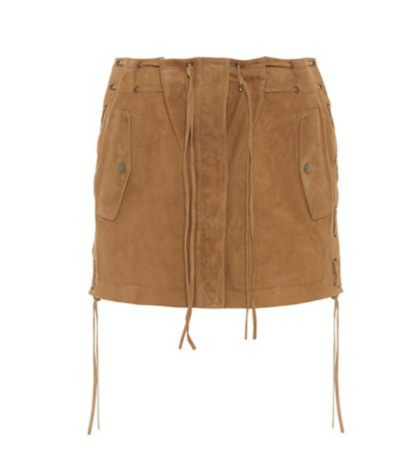 Saint Laurent Suede miniskirt in brown