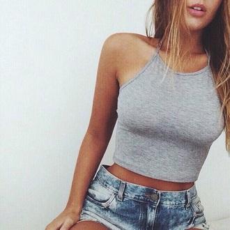 top tank top grey top grey shirt cute top style summer beauty california cutie