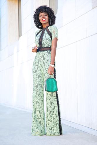 blogger jumpsuit bag shoes laceup jumpsuit