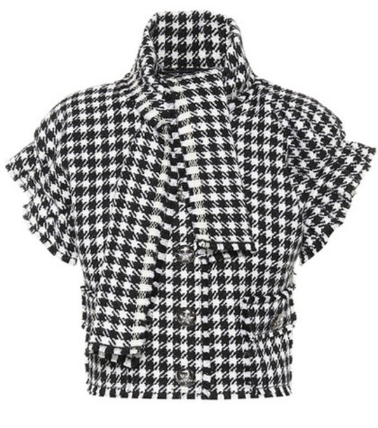 Dolce & Gabbana Houndstooth cropped jacket in black