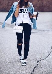 fashionably kay,blogger,sunglasses,denim jacket,white top,quote on it,white bag,black jeans,ripped jeans,black sneakers