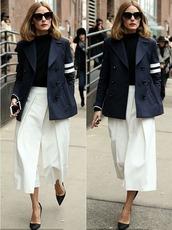 pants,wide-leg pants,olivia palermo,jacket,pumps,fashion week 2015