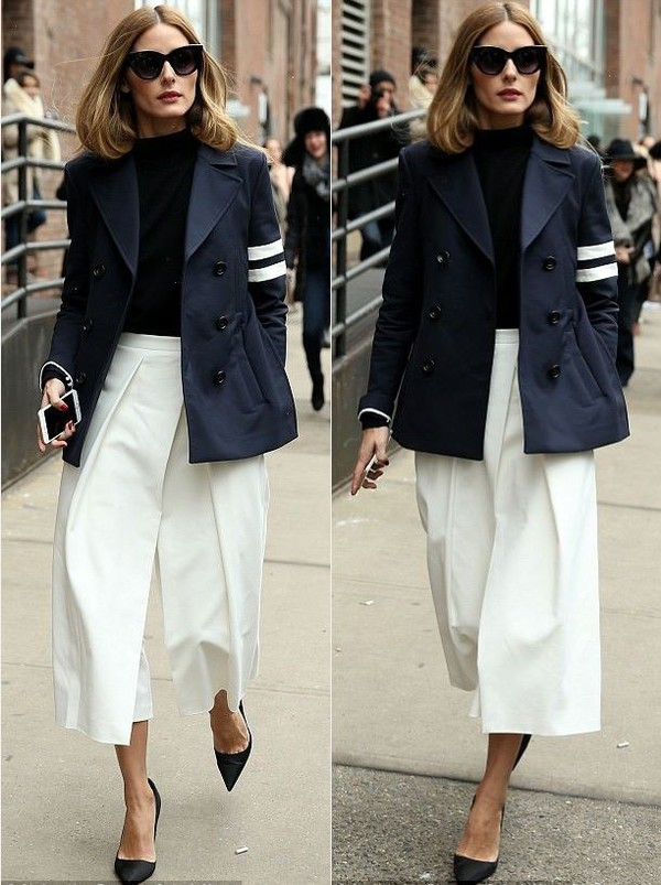 Pants: wide-leg pants, olivia palermo, jacket, pumps, fashion week ...