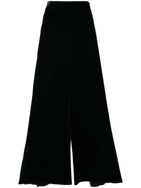 Peter Pilotto women black silk velvet pants