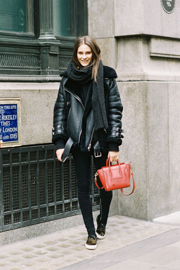 Coat: vanessa jackman, blogger, mini bag, shearling jacket, black ...