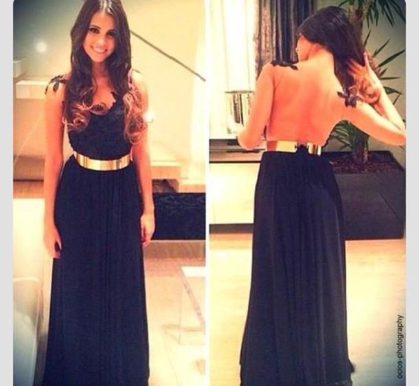 dress maxi gold belt