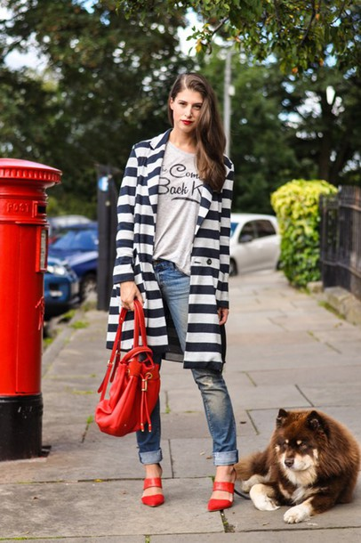 thank fifi blogger t-shirt shoes back to school coat blue jeans jeans cuffed jeans grey top quote on it mules red shoes red heels