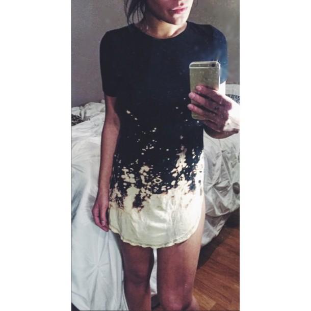 f89bf79639e dress bleach dyed shirt dress t-shirt dress short shirt dyed black short  sleeve girl