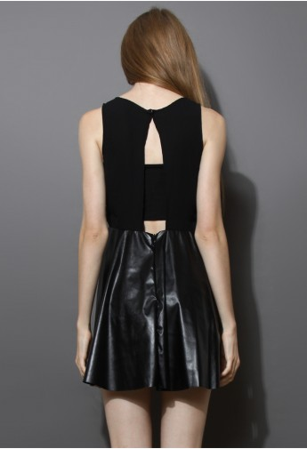 Open Back Faux Leather Skater Dress in Black - Retro, Indie and Unique Fashion