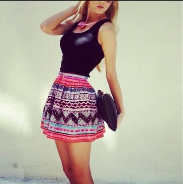 skirt aztec skirt pink skirt