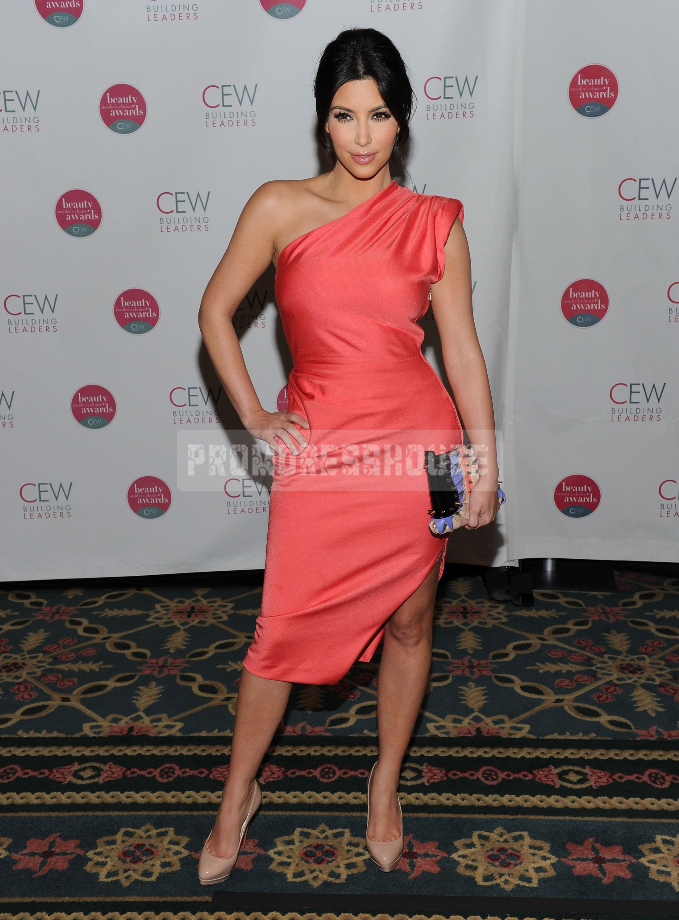 Satin Column Fashion Tea Length Side Split Watermelon One Shoulder Celebrity Dress - Promdresshouse.com