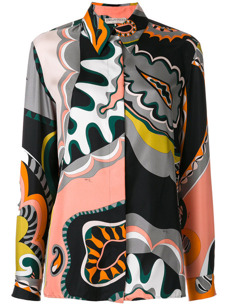 Emilio Pucci blouse retro women silk pattern top