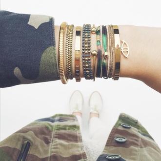 jewels bracelets gold jewelry camouflage