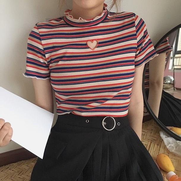 shirt stripes ruffle heart blue orange fashion skirt black belt eyelet detail layered blouse girly striped top cut-out frill frilly