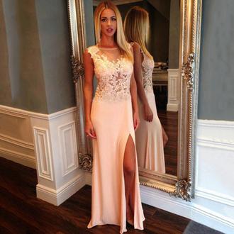 dress pink slit dress beautiful nude prom gown formal elegant vanessawu