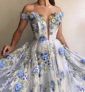 dress,black dress,blue,light blue,prom,prom dress,prom gown,flowers,floral,floral dress