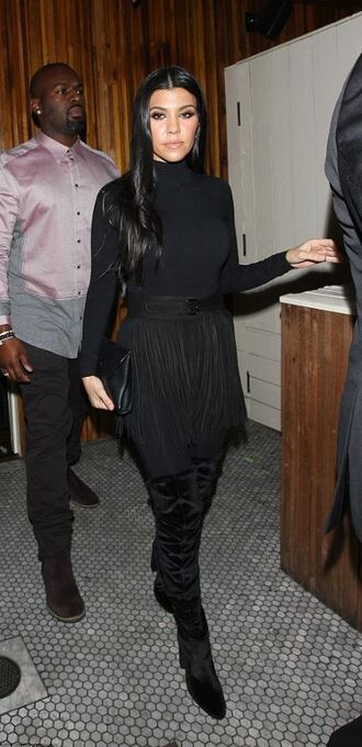 top turtleneck all black everything fringes belt boots kourtney kardashian kardashians