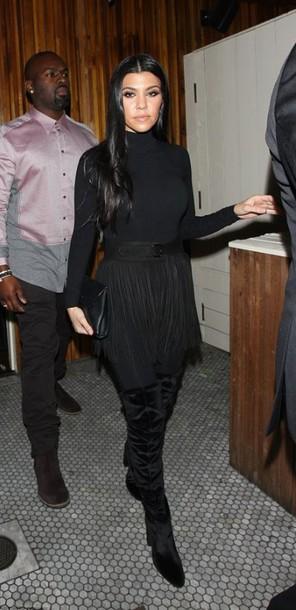 top turtleneck all black everything fringes belt boots kourtney kardashian kardashians