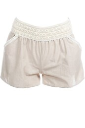 shorts,khaki linen shorts with lace detail