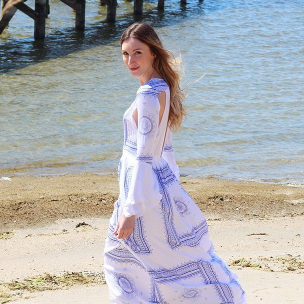 8c42a3a49ffb dress the jetset diaries boho blue white maxi dress long sleeves long  sleeve dress revolve clothing