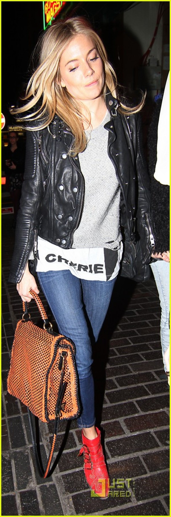 Sienna miller leather jacket