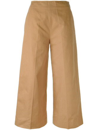 cropped women cotton brown pants