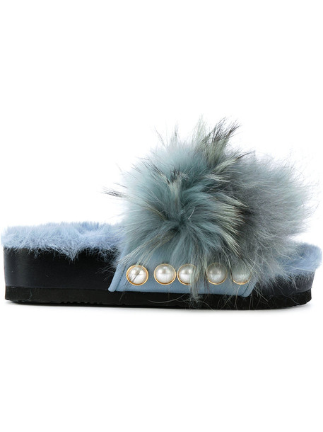Suecomma Bonnie fur women sandals blue shoes