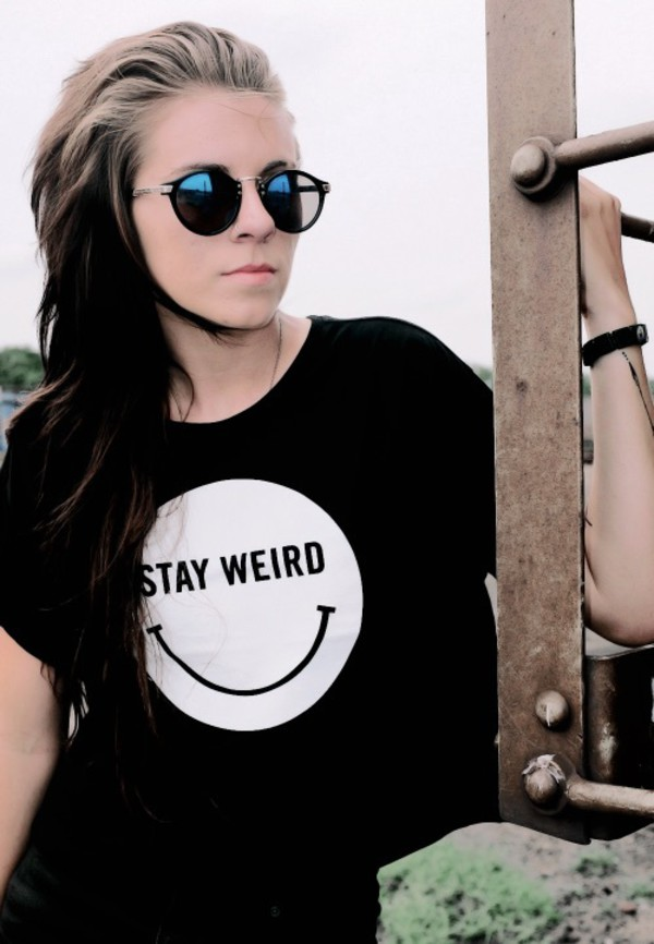 shirt lynn gunn sunglasses round frame glasses round sunglasses colorful cute stay weird crop tops black comfy everyday smile smiley