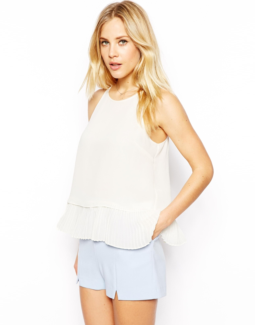 ASOS Cami with High Neck and Pleated Peplum at asos.com