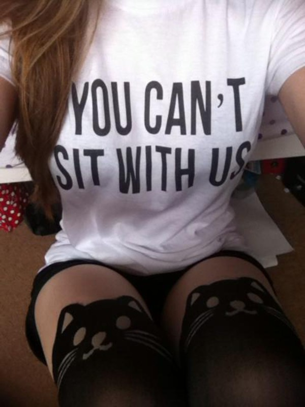 shirt you can't sit with us t-shirt white t-shirt socks knee high socks