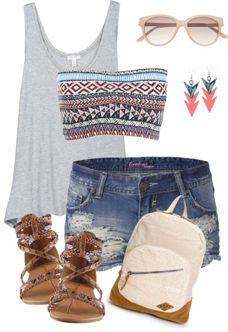 underwear bandeau bag blouse tank top shoes shirt shorts top outfit jeans tank shirt sandals denim shorts strapless bra backpack romper gray tanktop grey tank tribal bandeau summer aztec bra