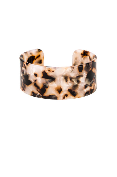 SHASHI Emma Large Lucite Cuff Bracelet in brown