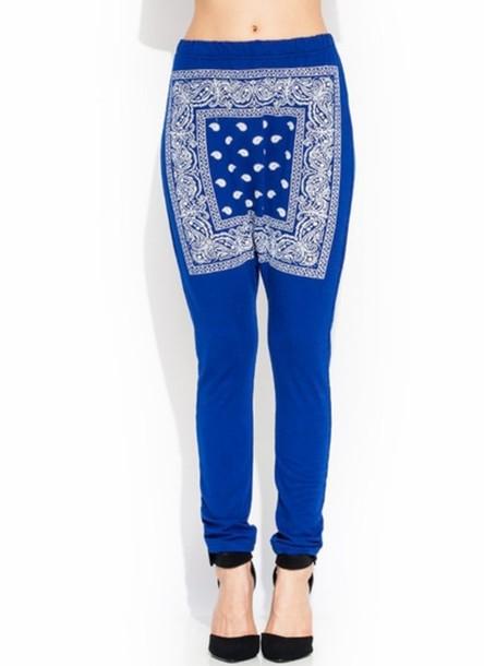 pants blue bandana joggers