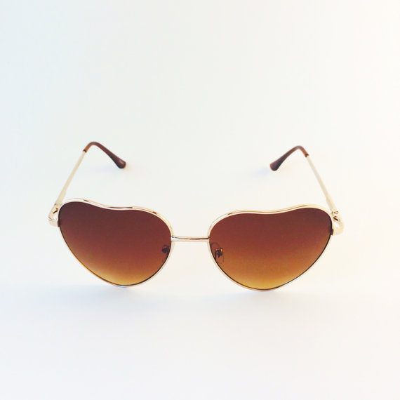Heart Shaped Aviator Sunglasses, Brown With Gold Frame