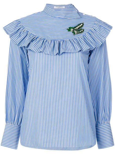 Vivetta - striped ruffled blouse - women - Cotton - 44, Blue, Cotton
