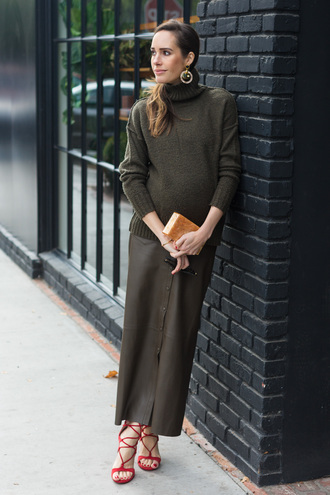 louise roe blogger skirt sweater shoes jewels bag turtleneck sweater maxi skirt winter outfits maternity sandals